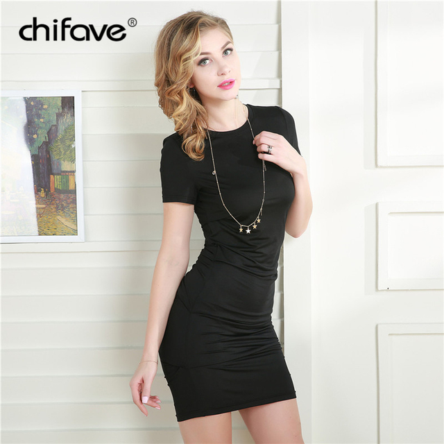 a9d5a1916b chifave 2018 Cute Solid Spring Summer Woman s Mini Dress Casual O-Neck  Sheath Black White Short Sleeve Bodycon Party Dresses