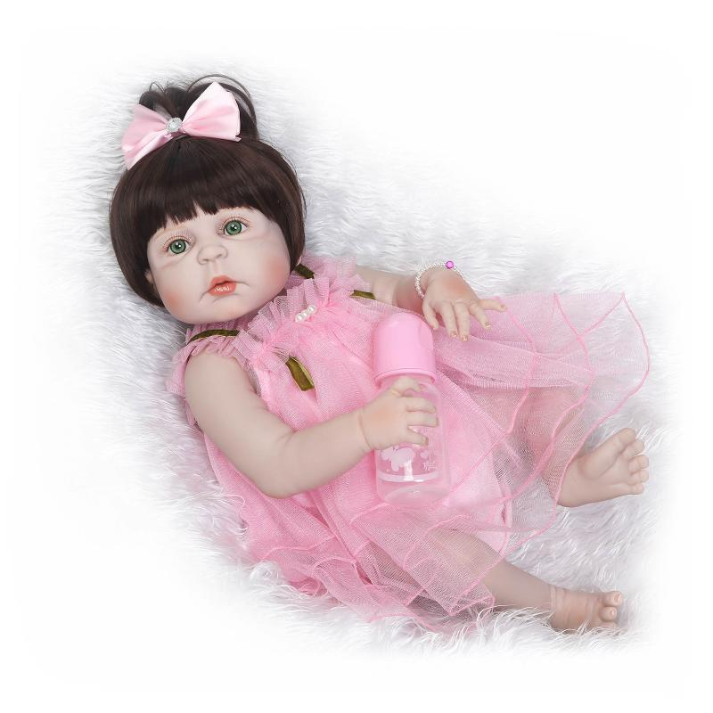 55cm Full Silicone Bebe Reborn Baby Girl Princess Dolls Lifelike Alive Doll With Pink Dress for Child Bath Shower Bedtime Toy new style girl dolls full silicone reborn dolls with beautiful dress adora dolls bebe reborn de silicone menica