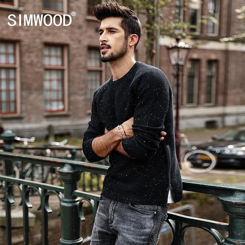 SIMWOOD Homens Camisola 2018 outono Inverno Nova Moda Slim Fit Zipper Pullovers De Malha Ponto Branco de Alta Qualidade Plus Size MT017035