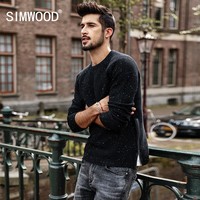 SIMWOOD Sweater Men 2018 Spring Winter New Slim Fit Fashion Zipper Knitted Pullovers White Dot High