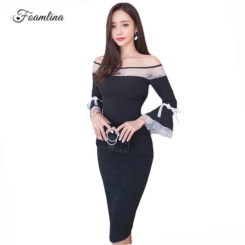Foamlina Womens Off Shoulder Bodycon Dress Slim Slash Neck Hollow Out Lace Patchwork Flare Sleeve Sexy Party Work Autumn Dress