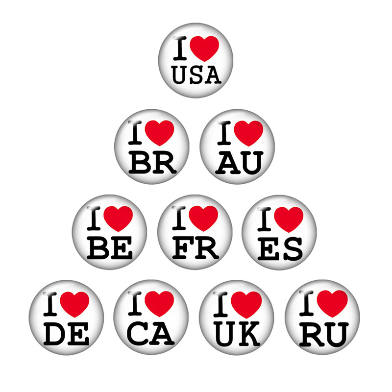 10pcs 18MM ZB0124 I LOVE XXX Country Round Domes Photo Print Glass Cabochon snap button fit DIY snap Bracelets jewelry ...