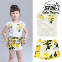 2016 New Fashion Cute Baby Girls Clothes Set Summer Sleeveless T Shirt Top and Pencil Pants