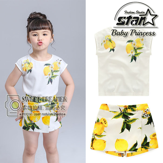 2016 New Fashion Cute Baby Girls Clothes Set Summer Sleeveless T-Shirt Top and Pencil Pants Skirt 2PCS Little Girls Outfit Set