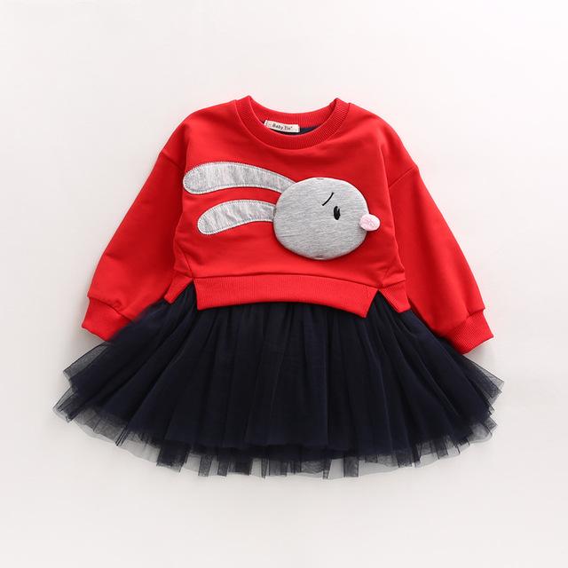 2017 Primavera Nuevas Chicas Versión del Conejo Tridimensional Neta Del Hilado Del Vestido Falso de Dos Piezas de Suéter Puffs YD111