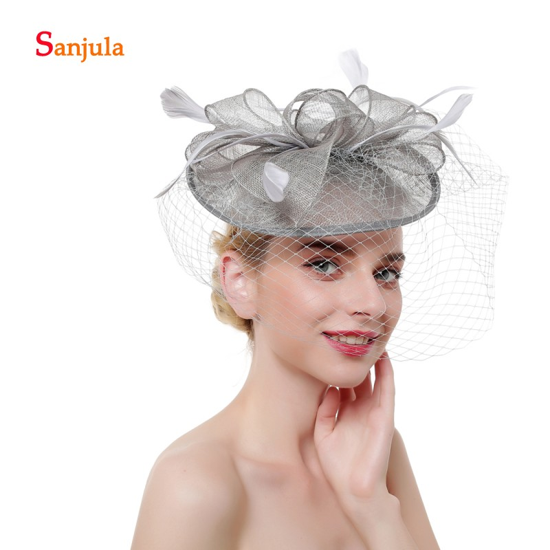 Champagne Linen Wedding Hats and Fascinators for Bridal Wedding Hats with Face Veil Elegant Women Party Hat sombrero boda H169