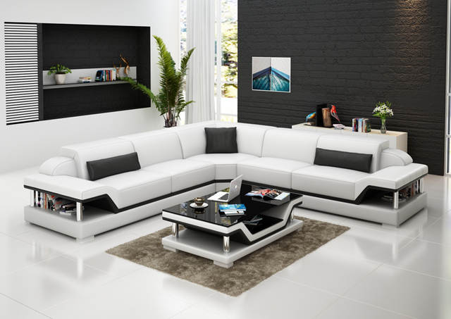 US $1590.0 |L shape leather sofa with coffee table 0413 G8004B-in Living  Room Sofas from Furniture on Aliexpress.com | Alibaba Group