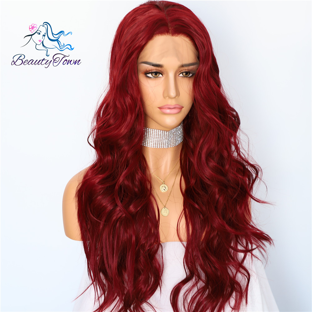 Image 2 - BeautyTown Red Natural Wave Hand Tied Cosplay Women Valentine's Day present Wedding Party Daily Makeup Synthetic Lace Front Wigs-in Synthetic Lace Wigs from Hair Extensions & Wigs