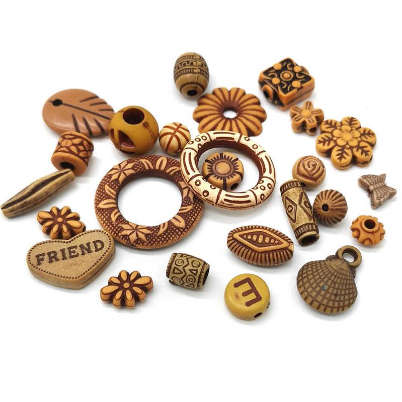 24 نمط تقليد الخشب الخرز الاكريليك الخرز مختلف الأشكال فاصل الخرز لصنع المجوهرات DIY