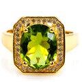 8 # Романтический Зеленый Перидот, белый Топаз SheCrown женщины Созданы Золото Серебро Кольцо 15 х 14 мм