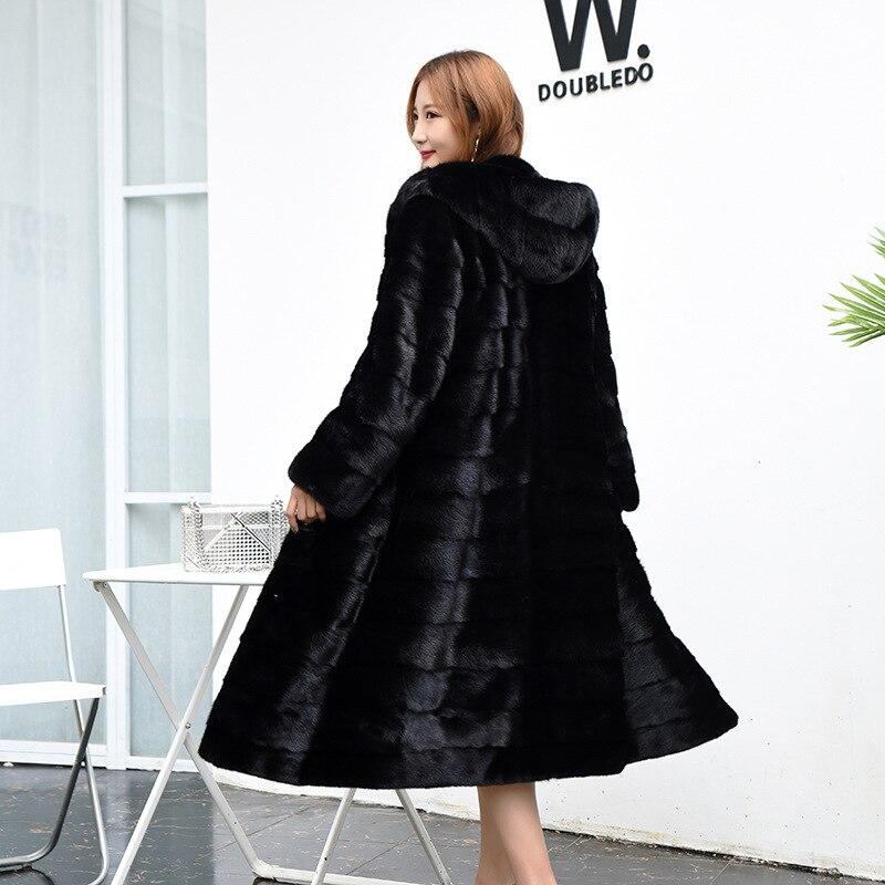 Новейшие женские черные пальто с капюшоном из искусственного меха, большие размеры S/6XL, повседневные женские длинные пальто из искусственн...