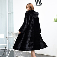 Newest Womens Black Hooded Man Made Fur Overcoats Large Size S/6XL Casual Female Long Section Thick Fake Fur Coats Tops D415