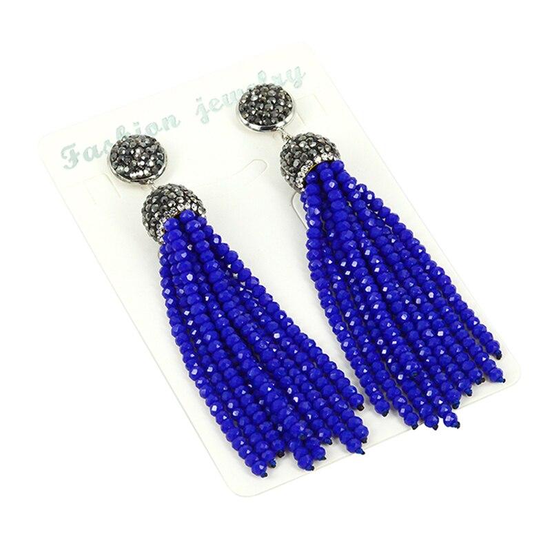 Crystal Rhinestone Charms Women Long Earrings Bohemian Multi Colors Stone Black Glass Bead Tassel Dangle Earrings for Woman pair of stylish bead chain tassel drop earrings for women