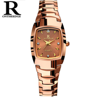 Nuevo Reloj elegante de marca famosa de lujo para mujer, relojes de cuarzo de oro rosa, relojes de pulsera impermeables de acero de tungsteno para mujer, regalo 2018