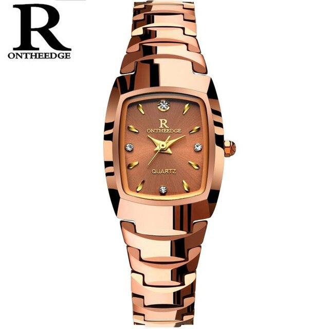 Women Watch Elegant Brand Famous Luxury Rose gold Quartz Watches Ladies Tungsten steel Waterproof Wristwatches Relogio 2017 Gift