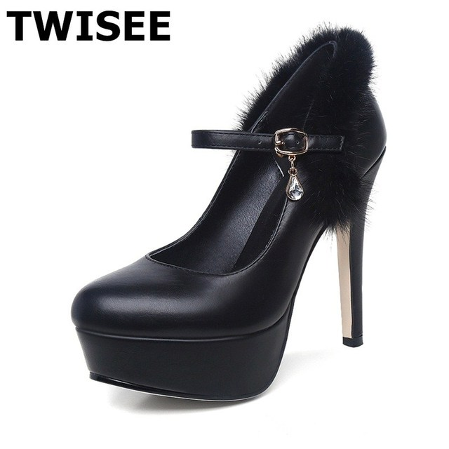 Microfiber Party Thin Heels platform-shoes-sexy Buckle Strap extrem high heels sapatos femininos high heels shoes woman