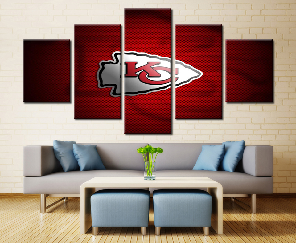 Framed Wall Art For Living Room Affordable Chairs 5 Panel Kansas City Chiefs Modern Home Decor Canvas ...