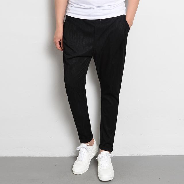 Nuevo Estilo de Los Hombres Pantalones de Harén Cintura Elástica Verano Negro Delgado Harlan Pant Para Hombre de Estiramiento de La Manera Pantalones Slim Fit Chándal masculino
