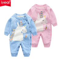 IYEAL Winter Baby Rompers Clothes Long Sleeved Newborn Boy Girl Flannel Unicorn Pattern Jumpsuit Infant Baby Clothing for 0 18M