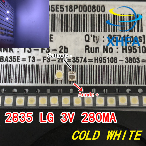 500pcs For <font><b>LG</b></font> High Power <font><b>2835</b></font> SMD <font><b>LEDs</b></font> Diodes Television Super Bright Diodo SMD <font><b>LED</b></font> 1210 3528 1W 100LM Cool White TV Backlight image
