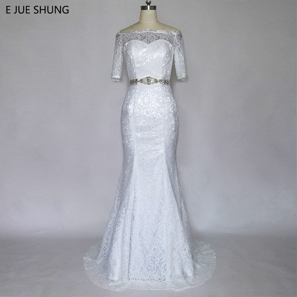 E JUE SHUNG White Vintage Lace Mermaid Wedding Dresses Kristal Sash Half Sleeves Wedding Gowns Murah robe de mariage