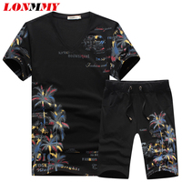LONMMY M 5XL T Shirts Mens Cotton Tracksuits Short Sleeved Sweat Suits Shorts Sets Sweatshirt Fashion