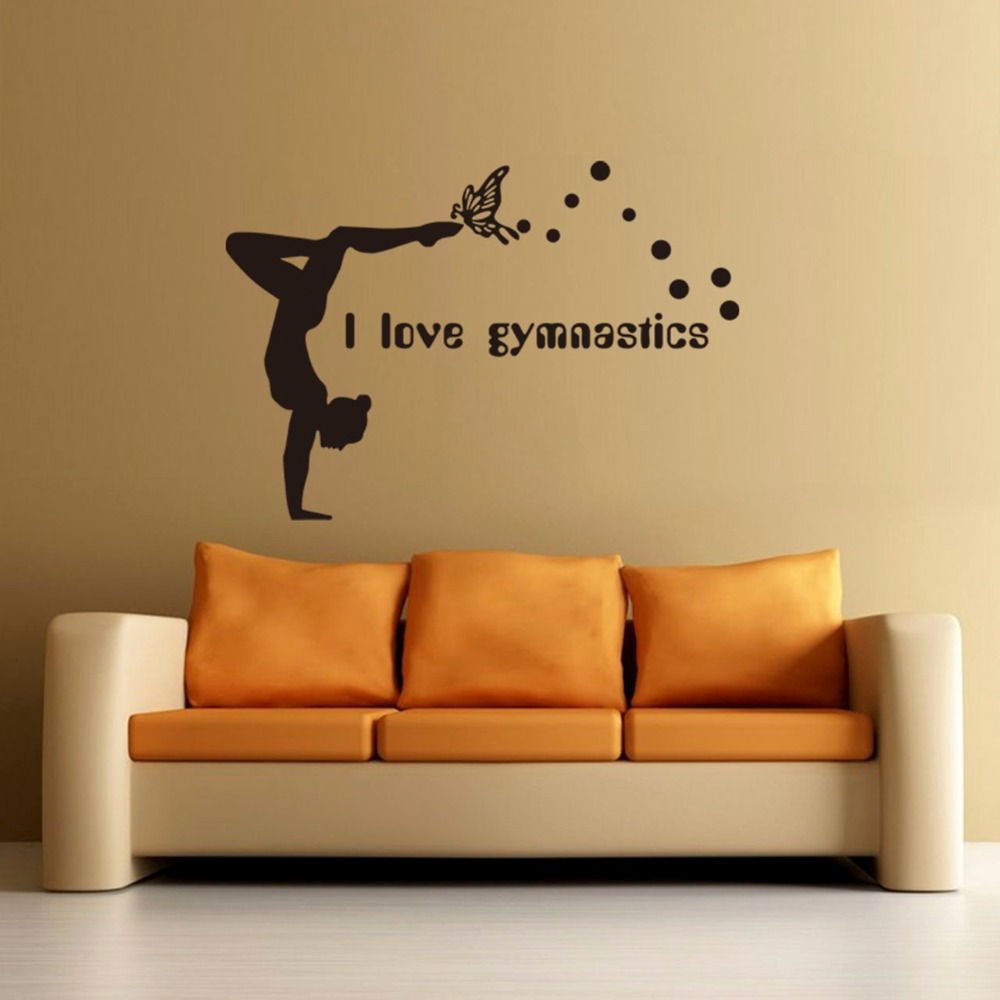 Hot New I Love Gymnastics Art Quote Wall Decal Decor Room Stickers Vinyl Removable Paper Mural Home DIY