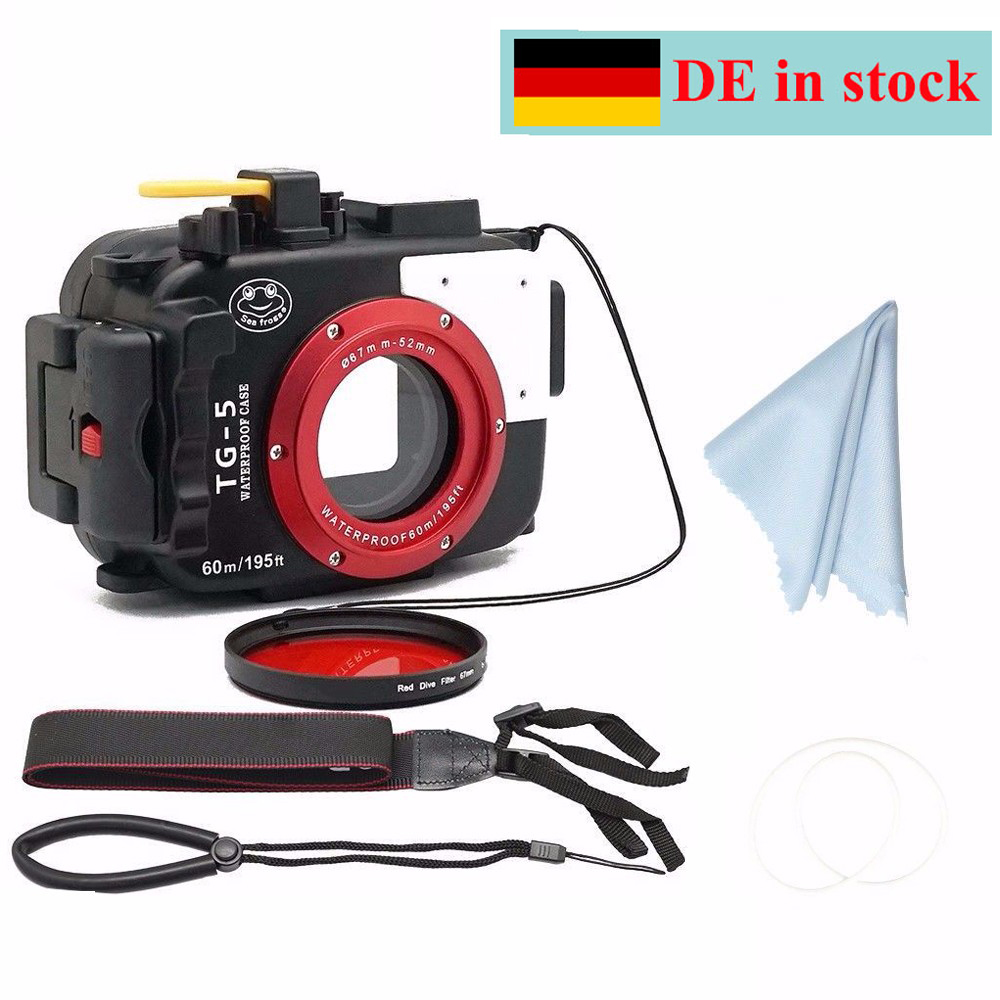 (Germany Location) SeaFrogs 60m/195ft Underwater Camera Housing Case for Olympus TG5 Waterproof Camera Bags + 67mm Red Filter рюкзак xiaomi simple urban life style backpack grey