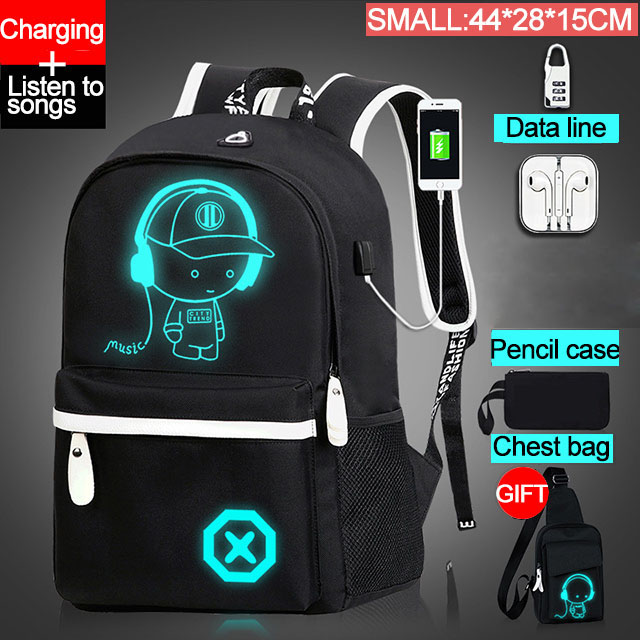 Fashion Backpacks Luminous Animation School Bags For Boy Girl Teenager USB Charge Men Back Pack Anti-theft Laptop Backpack Male
