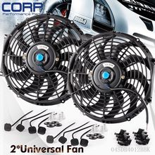 2X 12″ inch Universal Slim Fan Push Pull Electric Radiator Cooling 12V Mount Kit
