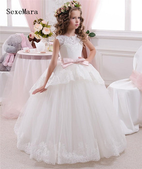 Flower Girl Dresses Tulle Appliqued Lace Pageant Dresses For Girls First Communion Dresses Kids Prom Dresses 2018 flower girl dresses for weddings first communion dresses for girls tulle a line girls pageant dresses cute