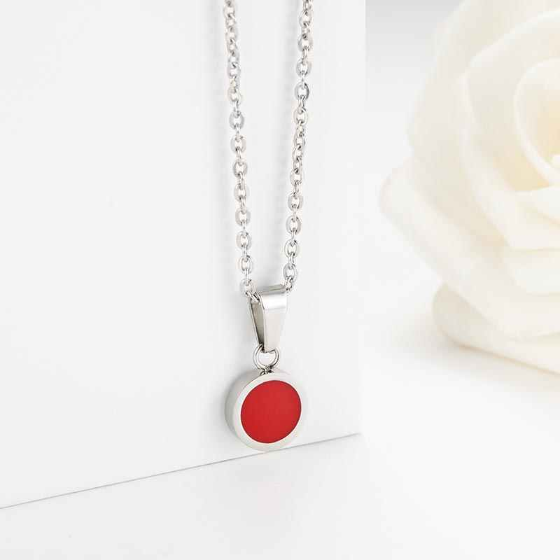 ZFVB Round Pendant Necklaces Women Trendy Jewelry 2019 Stainless Steel Fashion Red Black Pendant Necklace Clavicle chain Gift