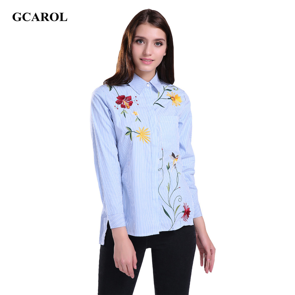 GCAROL <font><b>Women</b></font> Embroidered Floral Striped Blouse OL Fashion Shirt High <font><b>Quality</b></font> Asymmetric Length Tops For 4 Season