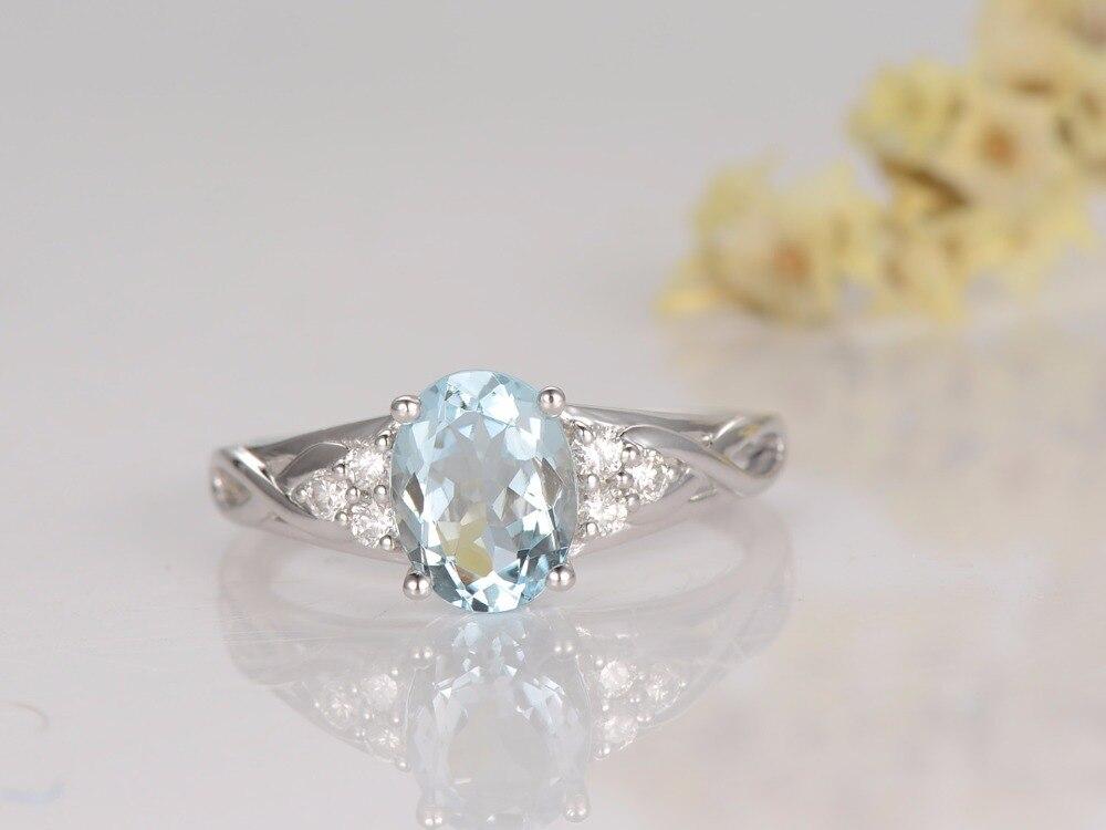 MYRAY Blue Aquamarine Engagement Ring 6x8mm Oval Cut IF Stone White Gold,Diamond Band,Bridal Wedding Ring,Natural Gemstone Ring