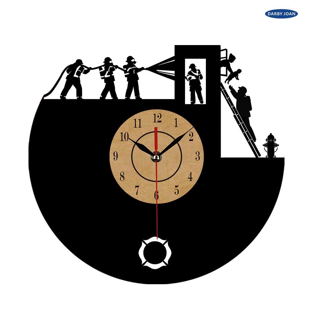 Us 18 92 56 Off Super Cool Neue Ankunft Vinyl Wanduhr Feuerwehrleute Thema Kunst Cd Uhr Kreative Uhr Dekorative In Wanduhren Aus Heim Und Garten Bei