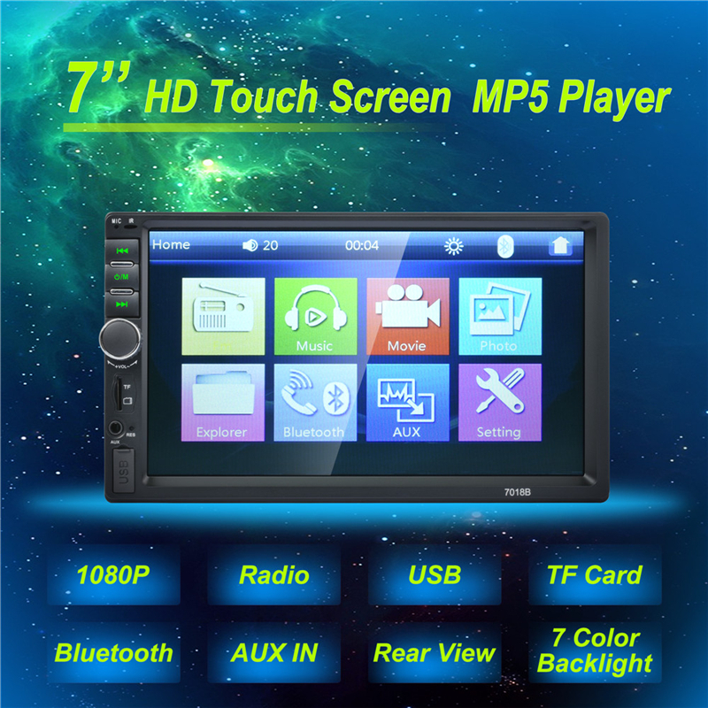 Autoradio 2 Din Auto Generale Modelli 7 ''pollici LCD Touch Screen auto Radio Player Bluetooth Car Audio Supporta macchina fotografica di Retrovisione Macchina Fotografica 7018B