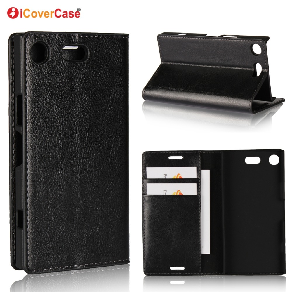 Luxury Real <font><b>Genuine</b></font> <font><b>Leather</b></font> Wallet <font><b>Case</b></font> For <font><b>Sony</b></font> <font><b>Xperia</b></font> <font><b>XZ1</b></font> Flip Cover Card slot Stand Protect <font><b>Case</b></font> for <font><b>Xperia</b></font> <font><b>XZ1</b></font> Compact image
