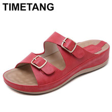 TIMETANGSummer Hot Sale Women Flip Flops Fashion Solid Color Metal buckle Flat Heel Sandals Outdoor Slipper BeachShoes ForFemale(China)