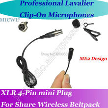 mini 4Pin Pro MICWL ME2 Desgin New Microfone Beige Lavalier Lapel Microphone for Shure Wireless Clip-On Beltpack System