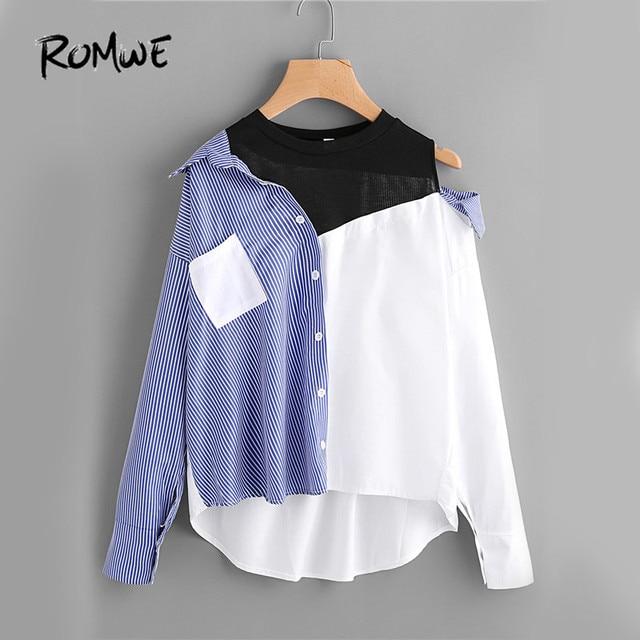 ROMWE Contrast Patchwork Shirt Blouse Women Asymmetric Open Shoulder Sexy Tops Fall 2018 Fashion Striped Casual Dip Hem Shirt