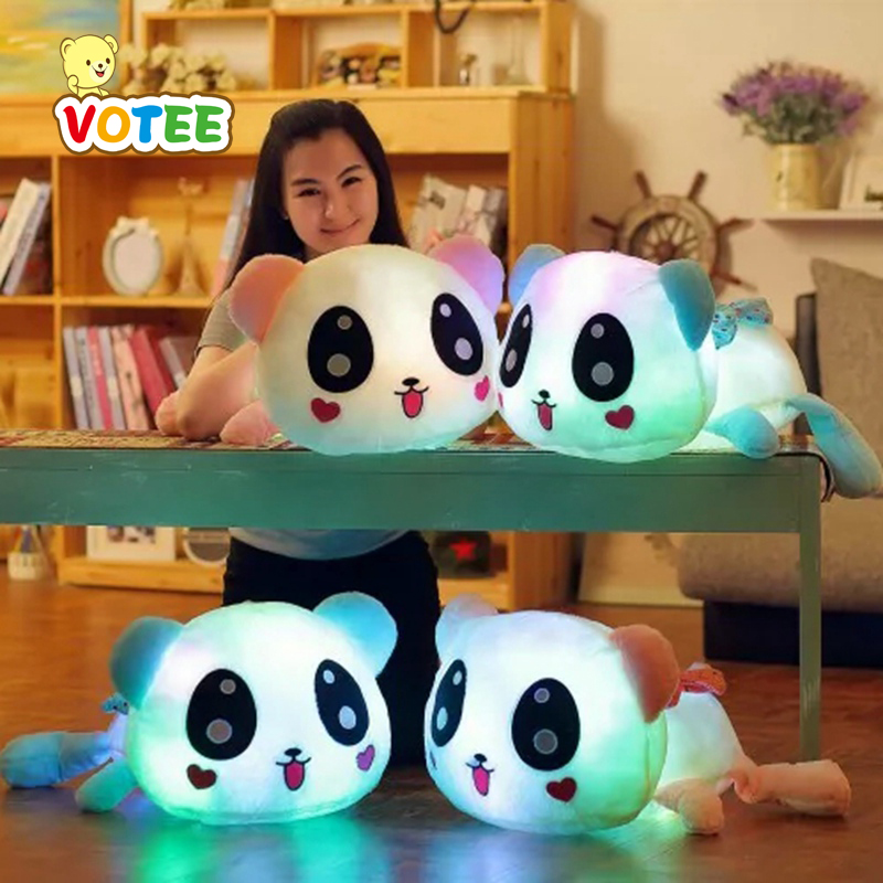 35cm Colorful Led Pillow Glowing Panda Plush Doll Luminous Toys Birthday Gift for Girls 75cm led luminous glowing toy light up plush rabbit doll christmas new year birthday gift for kid girlfriend child wj447
