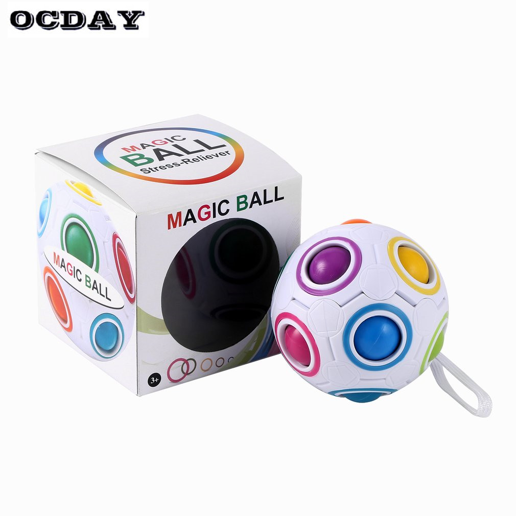 Magic ball Rainbow Spherical Magic Cube ball Anti Stress Rainbow Puzzles Balls Kids Educational Toys For Children(China)