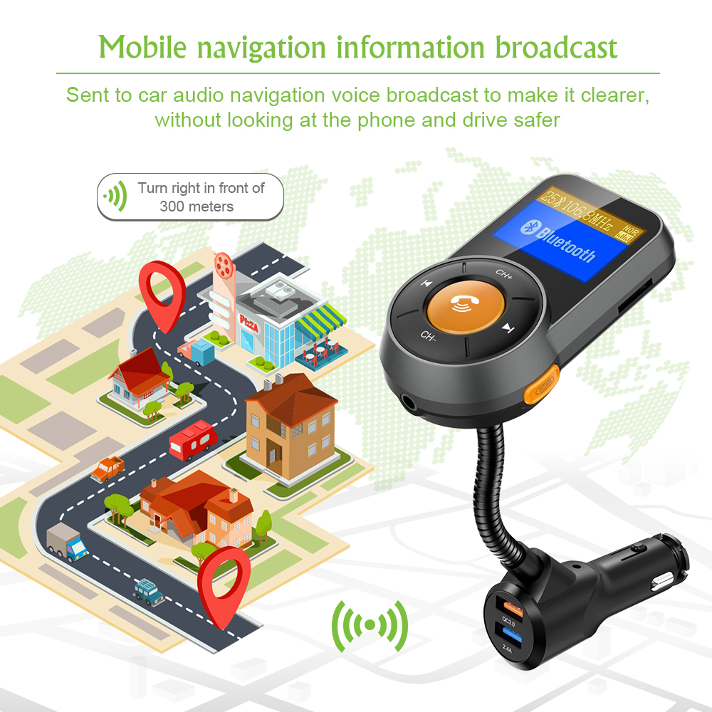 Image 4 - Car FM Transmitter Bluetooth Hands Free Dual USB QC3.0 Fast Charger LCD Transmissor Modulator Transmetteur Voiture Kit Radio MP3-in FM Transmitters from Automobiles & Motorcycles