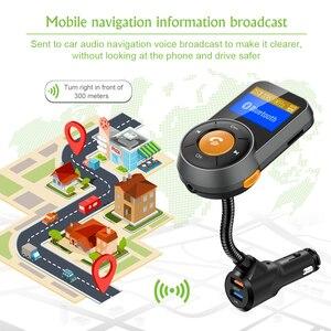 Image 4 - Transmisor FM de coche Bluetooth manos libres Dual USB QC3.0 cargador rápido LCD transmisor modulador Transmetteur Voiture Kit Radio MP3