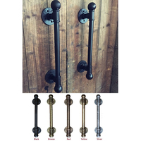 American Rural Antique Black Door Handle Handles Pull Pulls Water Iron Pipe With Ball Finial