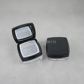 30pcs/lot  10ml cosmetic square loose powder jar 10g mineral loose powder case shimmer powder container with mirror  and sifter