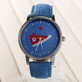 Creative Casual Unique Denim Fabric Strap Fahion Hip-Pop Rock Canvas Shoes Pattern Young Boy Girl Wristwatch Simple Unisex Watch