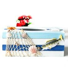 Creative Cute Mediterranean Sea Wooden Tissue Holder Decoration Home Decorative Desktop Box Gift Craft