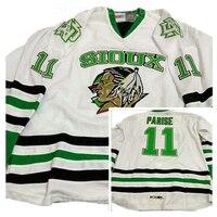 Ediwallen Universidad Dakota del Norte que lucha Sioux Jerséis hielo barato Hockey 11 Zach Parise Jersey alternativo negro verde color blanco
