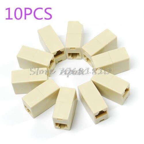 10PCS RJ45 RJ-45 Ethernet Net Network LAN Coupler Plug Adapter Connections Whosale&Dropship